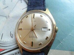 Clean Vintage Men's 1969 Timex 21 Jewel Mechanical Watch Runs 6544-7569 Runs
