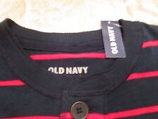 NWT OLD NAVY HENLEY NAVY SHIRT WITH RED STRIPES SIZE M