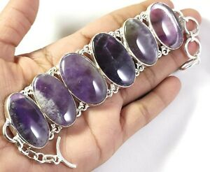 Natural Purple Amethyst Gemstone Handmade fashion Jewelry Silver Bracelet B-267