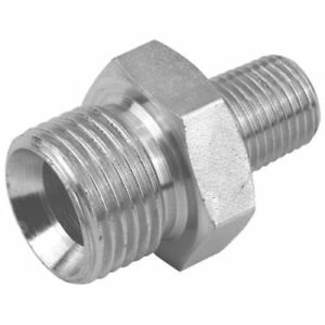 Male/Male Equal Hydraulic Adaptor BSPP 60° Cone x BSPT . Varuious Sizes.