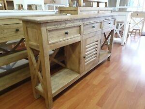 Lauren Natural Hamptons  timber narrow slim hall table console sideboard