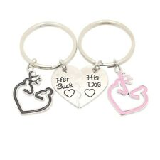 USA 2pcs His Doe and Her Buck Key Chain Ring Deer Browning Jewelry Heart Couples