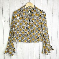 NWT Topshop Size 8 Leopard Print Frill Jacket Blazer With Bell Sleeves