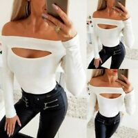 US Womens Sexy Hollow Out Tops Ladies Casual Long Sleeve Slim Fit Blouse T Shirt