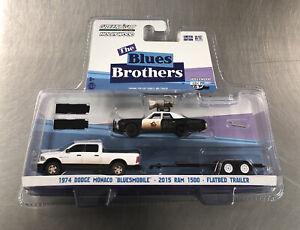 GREENLIGHT 1974 DODGE MONACO BLUESMOBILE • 2015 RAM 1500 • FLATBED TRAILER HITCH