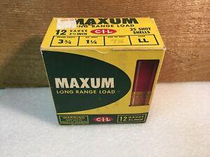 Vintage C-I-L MAXUM SHOT GUN SHELL BOX EMPTY 12 GA. shotgun Shells CANADIAN