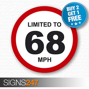 LIMITED TO 68 MPH Vehicle Speed Restriction Printed Vinyl Car Van Sticker 80mm