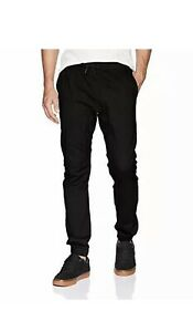 WT02 Men's Jogger Pants in Basic Solid Black Size Small $50 New