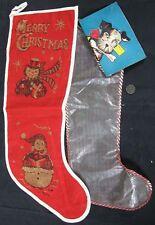 2 Vintage 1950's Merry Christmas & Dog Stockings