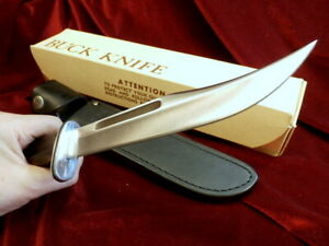 """RARE 1 Yr. 1981 FAMOUS BUCK 120 USA 12"""" VINTAGE BOWIE HUNTING KNIFE 3 Pc BOX SET"""