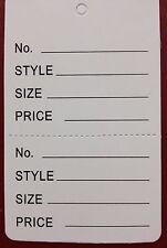 100 White Large Clothing Consign Perforated Unstrung Price Merchandise Store Tag