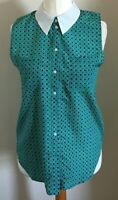 Cooperative Size S Ladies Sleeveless Green Top With Blue Print, BNWT