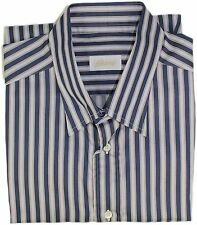 BRIONI MEN'S NAVY STRIPE PATTERN SHIRT-XL-MADE IN ITALY