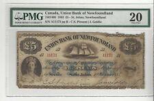 1883 Union Bank of Newfoundland, 7501408,  5 Pound Note, SN# A11173 PMG VF-20