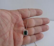 925 STERLING SILVER LADIES NECKLACE PENDANT W/ 5.25 CT LAB DIAMONDS & EMERALD