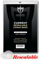 Lot of 200 Max Pro RESEALABLE Current Comic Book Archival Poly Bags - 6 7/8x10.5