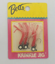 Betts Krinkle Jigs - 3 Qty. RARE -Color- Red & Clear   Trout or Panfish