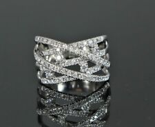 14K White Gold Crossover 5 Row Diamond 1.00ct Cocktail Ring Band Size 7.5