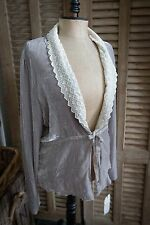 4 LOVE AND LIBERTY By Johnny Was Grey velvet shawl collar jacket NWT