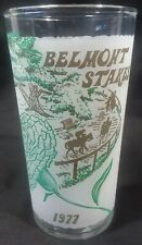 Official 1977 Belmont Stakes Souvenir Glass Tumbler Seattle Slew Triple Crown