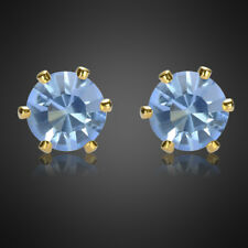 Sale! Fashion Lady Tanzanite Yellow Gold Plated Stud Earrings Earing Earings