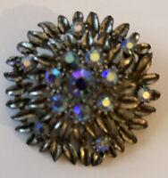 Vintage Costume Jewellery Aurora Borealis Cluster Silver Tone Brooch