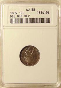 1889-P Liberty Seated Dime - Scarce FS-801 DDR - ANACS AU58 - Ch PQ AU58 Coin
