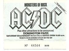 RARE / TICKET DE CONCERT - AC/DC AC / DC LIVE A DONINGTON PARK ( UK ) AOUT 1981