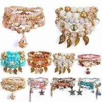 Bohemian Natural Stone Crystal Bead Star Tassel Chain Women Silver Bracelets Set