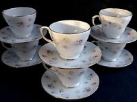 Vintage Set 6 Duchess Bone China Cups & Saucers - Marie Pattern - Excellent Cond