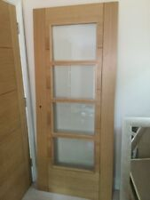 Internal oak door with glass panels 78 inches by 33 inches