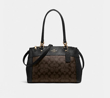 Coach F25396 Signature SmoothLeather Brooke Carryall Satchel Handbag Brown Black
