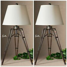 TWO OXIDIZED BRONZE TRIPOD TABLE LAMPS AGED FINISH WHITE LINEN SHADE LIGHTS
