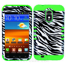 Silver Zebra Green Hybrid Cover Case for US Cellular Samsung Galaxy S 2 S2 R760