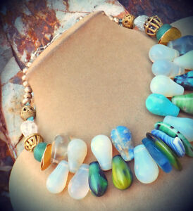 Mali Wedding Beads Africa Trade Glass Turquoise Blue Green White Milk Necklace