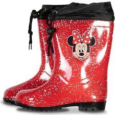 Disney Girls Minnie Mouse Fleece Lined Tie Top Wellington Boots Kids Snow Shoes