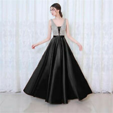 Sexy V Neck Bridesmaid Prom Dress Formal Evening Party Satin Ball Gown New Dress