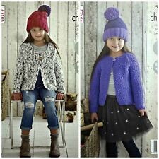 Knitting Pattern Childrens Easy Knit veste & chapeau Comfort Chunky King Cole 5168