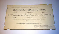 Rare Antique Party  / Ticket Steamer Peerless! Transportation, Boat! Music 1885!
