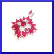 & 18 in.Silver Chain #230 Free Shipping New Ruby & White Cz 925 Sliver Pendant