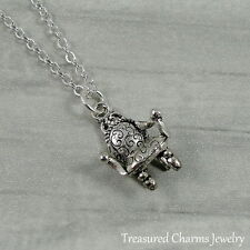 Silver Antique Chair Charm Necklace - Arm Chair Furniture Pendant Jewelry NEW