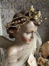 Antik Zierliche Brautkrone Wachs Blütenkranz Bridal Crown Antique Shabby