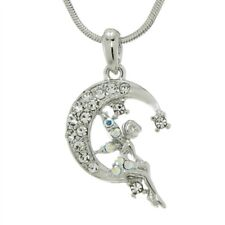 "W Swarovski Crystal Tinker Bell Tinkerbell Moon Fairy 18"" Chain Pendant Gift"