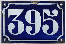 Old blue French house number 395 door gate plate plaque enamel metal sign c1900
