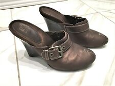 G Series Cole Haan Brown Leather Wedge Mules Women Clogs Shoes Size 10B