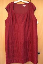 Burgundy Lace Overlay New Dress Dressbarn Size 24W 24 Mother-of-the-bride NWT