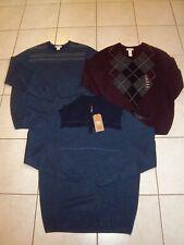 New - 3 Men's Sweaters - Dockers - VNeck - Crew & 1/2 Zip - Navy Maroon Blue