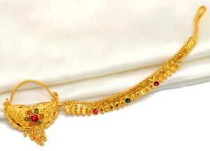 Indian Gold Red Green Bridal Gold Nath Nose Pin With Chain Nathini  High Quality