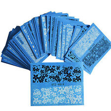 48-Sheet NAIL ART BLACK LACE FLOWER WATER TRANSFER DECALS STICKERS MANICURE