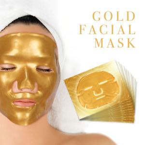 Premium Collagen Crystal Face Masks Anti Ageing Skin Care Gold White x5 x10 x50